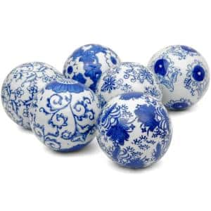 3 in. Blue and White Decorative Porcelain Ball Set