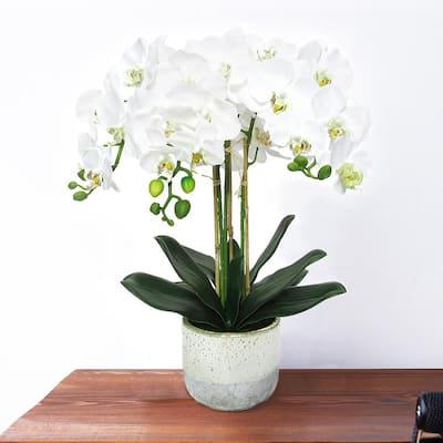 25 in. 3-Stem Artificial Phalaenopsis Orchid Flower Arrangement in Half Glazed Ceramic Pot