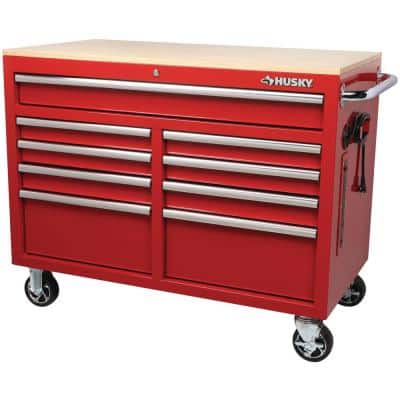 46 in. W x 24.5 in. D 9-Drawer Gloss Red Deep Tool Chest Mobile Workbench with Hardwood Top