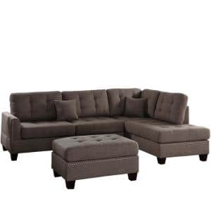 Barcelona Coffee Polyester 6-Seater L-Shaped Sectional Sofa with Ottoman