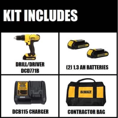 20-Volt MAX Cordless 1/2 in. Drill/Driver, (2) 20-Volt 1.3Ah Batteries, Charger & Bag