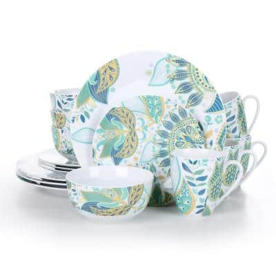16-Piece White with Green Pattern Porcelain Dinnerware Set Plates and Bowls Coffee Mugs(Service for 4)