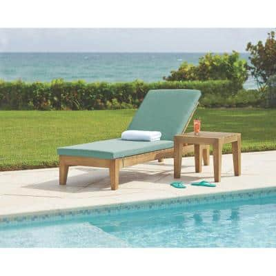Bermuda Distressed Grey All Weather Patio Chaise with Spa Blue Fabric Cushions