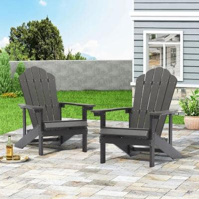 Gray Reclining Platic Adirondack Chair (Set of 2)