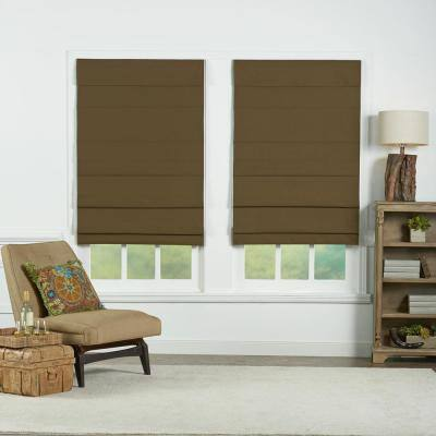 Chocolate Cordless Blackout Energy-Efficient Cotton Roman Shades 23 in. W x 72 in. L