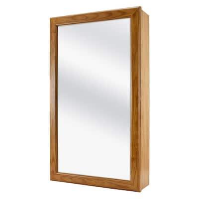 15-1/4 in. W x 26 in. H Framed Surface-Mount Bathroom Medicine Cabinet in Oak