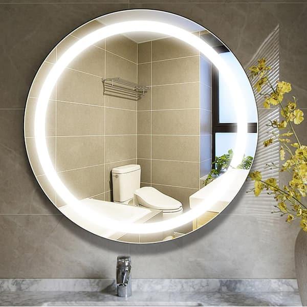 Vanity Art 24 In W X 24 In H Frameless Round Led Light Bathroom Vanity Mirror In Clear Var16 The Home Depot
