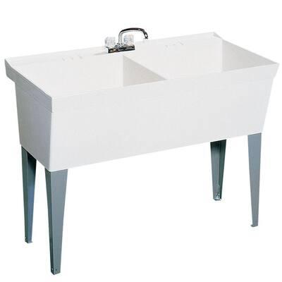 23.375 in. x 45.375 in. Veritek Double Bowl Laundry Tub