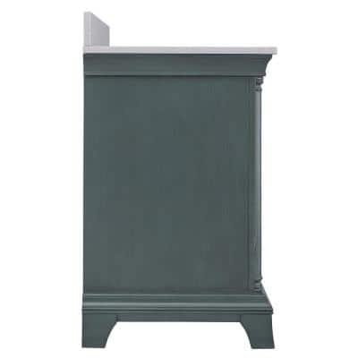 Strousse 61 in. W x 22 in. D Vanity in Distressed Blue Fog with Engineered Stone Top in Ice Diamond with White Sink