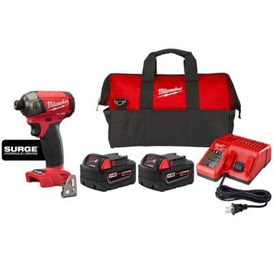 M18 FUEL SURGE 18-Volt Lithium-Ion Cordless 1/4 in. Impact Driver and Starter Kit with Two Batteries, Charger & Tool Bag