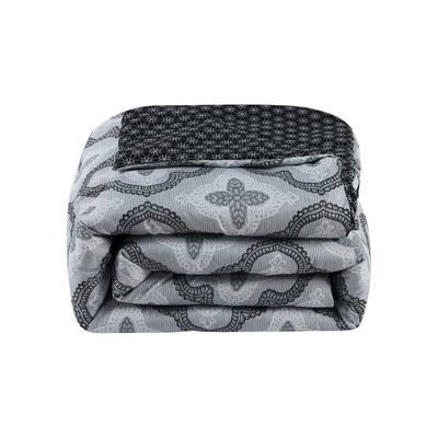 Brussels 7-Piece Grey/White/Black Comforter Set