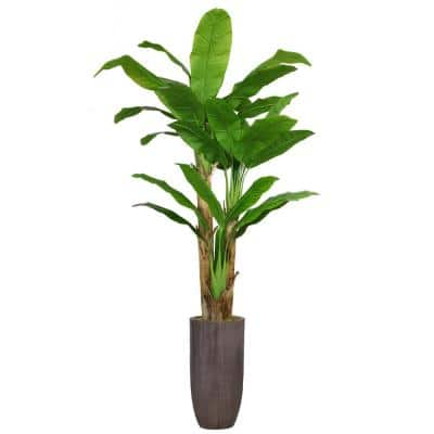 86.25 in. Tall Banana Tree Artificial Faux Decorative in Resin Planter