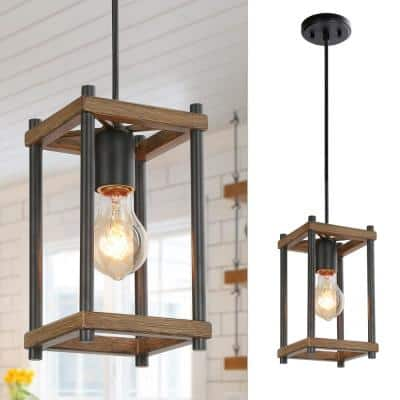 Modern Farmhouse Pendant Light Firefly 9.5 in. 1-Light Black Rectangular Frame Pendant Light
