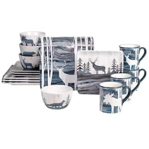 Fluidity Lodge 16-Piece Seasonal Multicolored Earthenware Dinnerware Set (Service for 4)