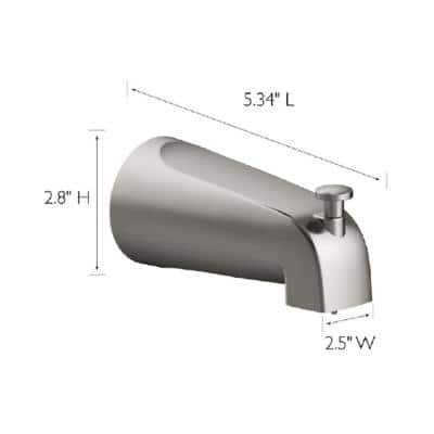 Tub Diverter Spout in Satin Nickel