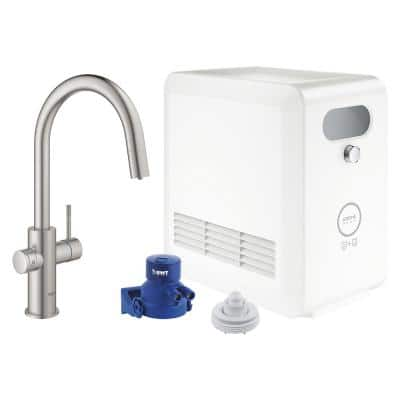 Blue Professional Starter Kit Round Single-Handle Beverage Faucet with Pull-Out Spray in SuperSteel