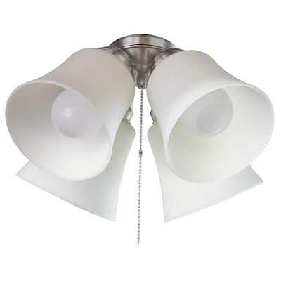 4-Light Brushed Nickel Ceiling Fan Shades LED Light Kit
