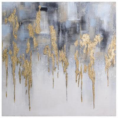 """Golden Lighting-1"" by Martin Edwards Textured Metallic Abstract Hand Painted Wall Art 36 in. x 36 in."