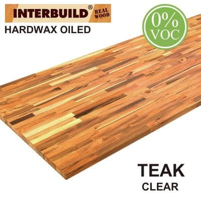 Teak 7 ft. L x 25 in. D x 1 in. T B/C Grade FJ Straight Edge Stain Butcher Block Countertop in Clear Oil Stain