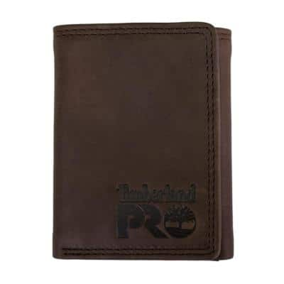 Men's RFID Leather Trifold Wallet with ID Window (Dark Brown / Pullman)
