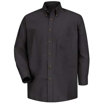Men's Size XL x 36/37 Black Poplin Dress Shirt