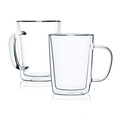 Double Wall Glass Mugs, Coffee Mugs, Tall Cups With Handle (Set of 4)