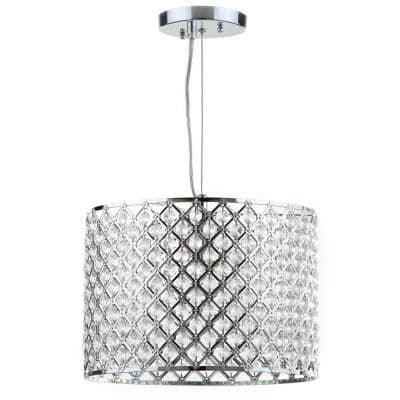 Silva 1-Light Chrome/Clear Beaded Diamond Drum Pendant