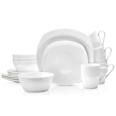 Stone Lain Square 16 Piece Dinnerware Set, White Bone China Set