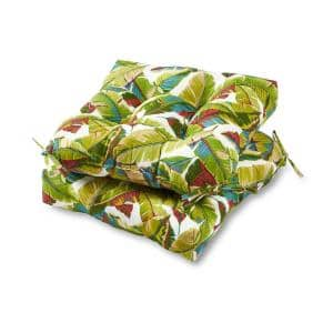 Palm Leaves Multi Square Tufted Outdoor Seat Cushion (2-Set)