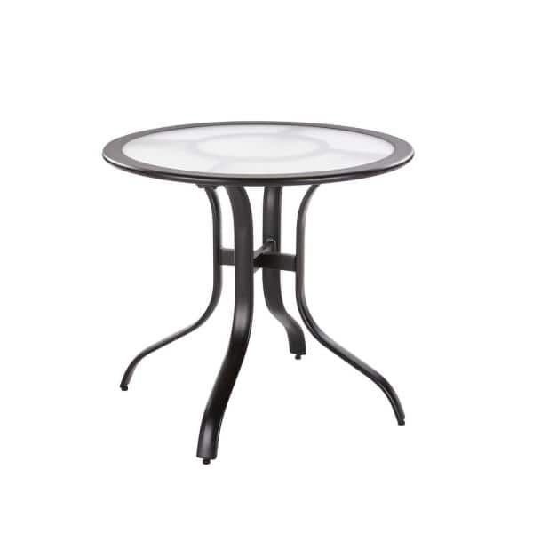 Hampton Bay 30 In Commercial Aluminum Round Outdoor Patio Acrylic Top Bistro Table In Black 191a192630tacbl The Home Depot