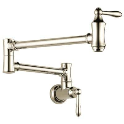Traditional Wall-Mounted Pot Filler in Polished Nickel