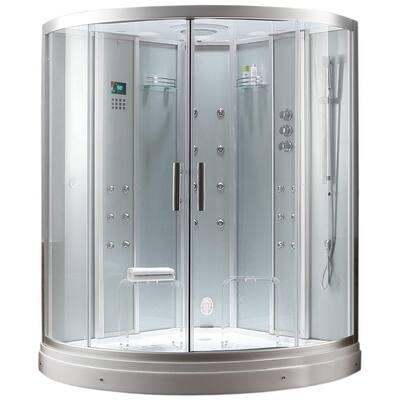 59 in. x 59 in. x 88.6 in. Steam Shower Enclosure Kit in White