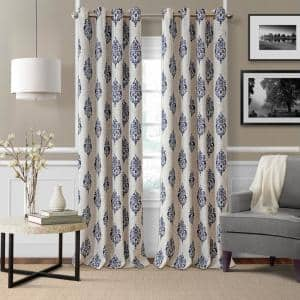 Navy Medallion Blackout Curtain - 52 in. W x 84 in. L