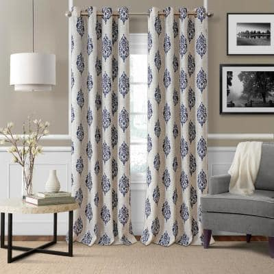 Navy Medallion Blackout Curtain - 52 in. W x 95 in. L