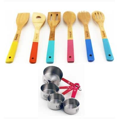 10-Piece Wooden Utensil and Measuring Cup Set