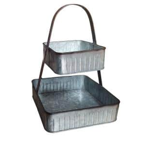 19 in. L x 13 in. W x 13 in. H Gray Square 2-Tiered Galvanized Metal Corrugated Tray with Handle