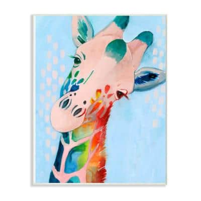 """10 in. x 15 in. """"Colorful Abstract Giraffe Rainbow Blue Drawing"""" by Grace Popp Wood Wall Art"""