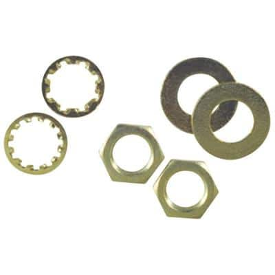 6 Assorted Brass-Plated Steel Nuts and Washers