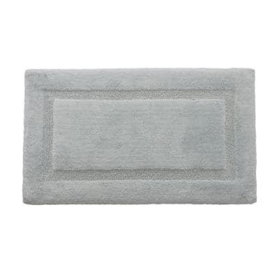 Solid Bordered Ringspun Cotton Mineral Blue 20 in. x 34 in. Bath Accent Rug