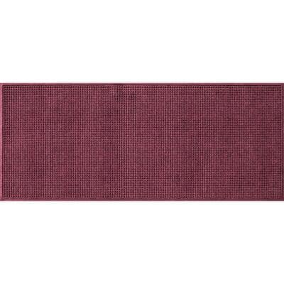Squares 35 in. x 85 in. PET Polyester Doormat Bordeaux