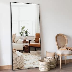 Bowen 71 in. x 23.6 in. Modern Rectangle Metal Framed Black Full Length Leaning Floor Mirror