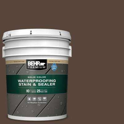 5 gal. #SC-105 Padre Brown Solid Color Waterproofing Exterior Wood Stain and Sealer