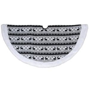 48 in. Black and White Knitted Reindeer Lodge Round Christmas Tree Skirt