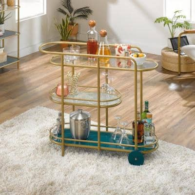 Coral Cape Satin Gold Bar Cart with Glass Shelves