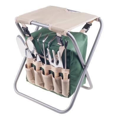 Folding Garden Stool with Tool Bag Plus 5 Garden Tools