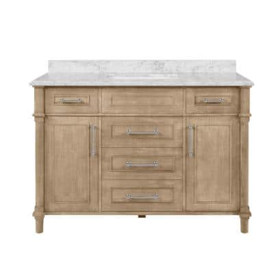 Aberdeen 48 in. W x 22 in D Vanity in Antique Oak with Carrara Marble Vanity Top in White with White Basin