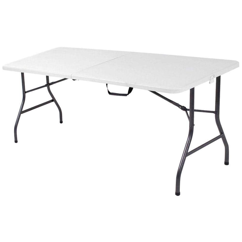 Cosco 72 In White Speckle Plastic Fold Half Folding Banquet Table 14678wsp1 The Home Depot