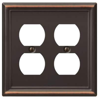 Ascher 2 Gang Duplex Steel Wall Plate - Aged Bronze