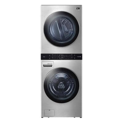 27 in. Noble Steel Washtower Laundry Center with 5.0 cu. ft. Washer, 7.4 cu. ft. Electric Dryer
