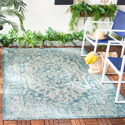 Courtyard Gray/Blue 7 ft. x 10 ft. Geometric Indoor/Outdoor Area Rug